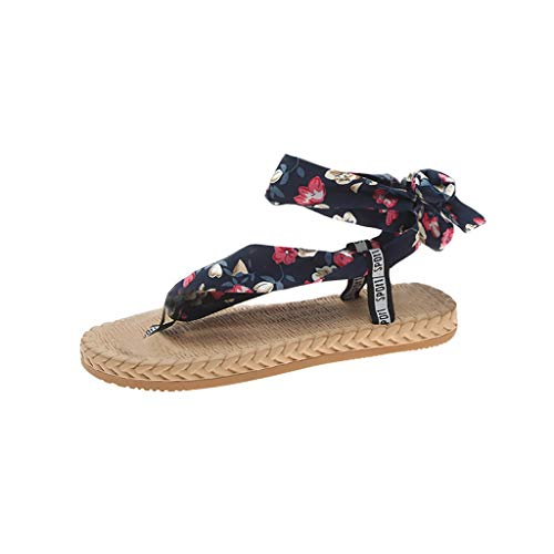 Aunimeifly Stylish Woman's Summer Strappy Sandals Ladies Printed Clip-Toe Party Flat Round Toe Half Drag Shoes Dark Blue ()