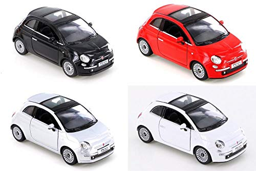 ModelToyCars Fiat 500 - Set of Four 1/28 Scale Diecast - Kinsmart 5345D - Assorted Colors