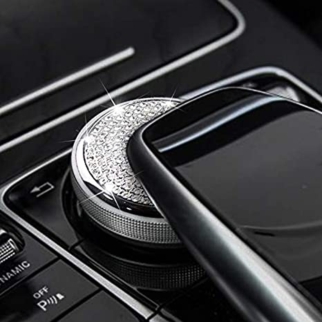 MAXDOOL AMG Interior Auto Start Engine Ignition Button Key Knobs Decals Stickers Emblem Accessories Silver for Mercedes Benz A B E GLK GLA CLA GLE ML GL Class 35mm Start Engine Button