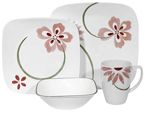 Corelle Pretty Pink Square 16-Piece Dinnerware Set, Service for 4 (Pink Dishes Corelle)