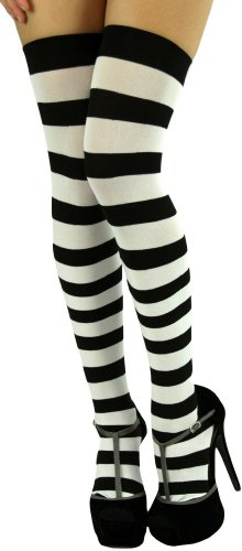 ToBeInStyle Women's Wide Vertical Striped Thigh Hi Stockings Free, Black White ()