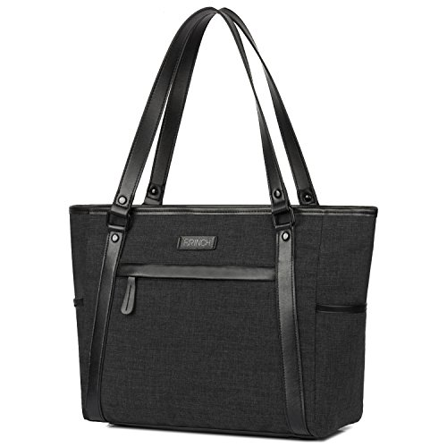 BRINCH Laptop Tote Bag, Classic Nylon Zip Work Tote Bag Shopping Duffel Bag Carry Travel Business Briefcase Shoulder Handbag For Up to 15.6 Inch (Nylon Computer Tote Bag)