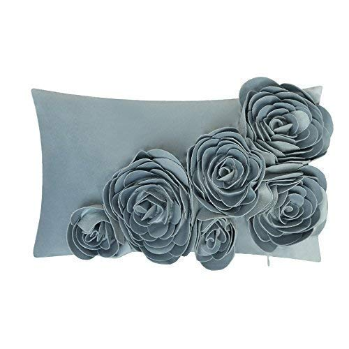 JWH 3D Handmade Accent Pillow Cases Rose Flowers Cushion Covers Velvet Decorative Pillowcases Home Sofa Car Bed Living Room Office Chair Decor Pillowslips Rectangular Gifts 12 x 20 Inch Blue