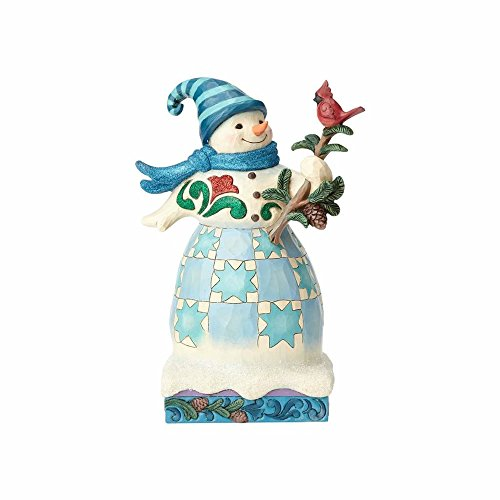 Enesco Jim Shore Heartwood Creek Winter Wonderland Snowman with Cardinal, 8.2