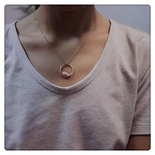 Sweet Pea Pearl Pendant -  SEUSUK Gold Necklace Pendant Dainty 14K Gold Fill Peas in A Pod Mini 3 Pearls Winding Circle Eternity Mom&Granddaughter&Grandma Sisters Delicate Handmade Initial Simple Gold Jewelry for Women