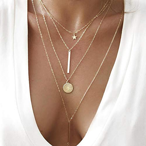 Dainty Coin Pendant 14K Gold Layered Necklace Whit Star Long Chain Multilayer Necklace Set Jewelry for Women Lady Girls Gift Jewelry (3 Gold Necklace)