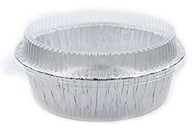 "Disposable Foil 6"" Tart Pan, Round Baking Pan, Aluminum Pot Pie Pan Baking Tin with Lids, 10 Sets"