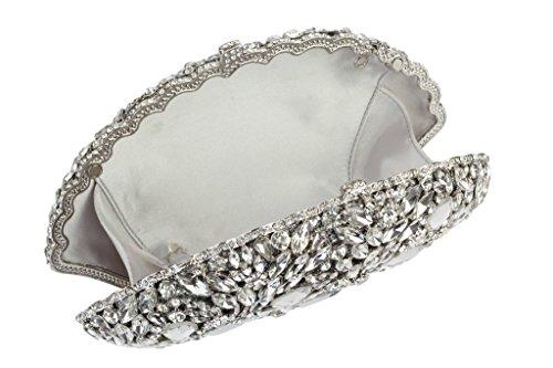 Yilongsheng Ladies Fashion Sac de soirée avec Glitter Diamonds (Argent)