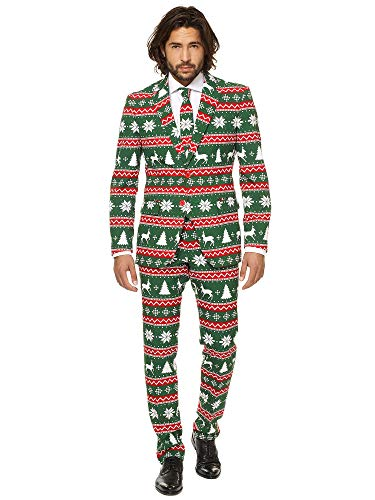 OppoSuits Christmas Suits for Men in Different Prints - Ugly Xmas Sweater Costumes Include Jacket Pants & - Christmas Tuxedo