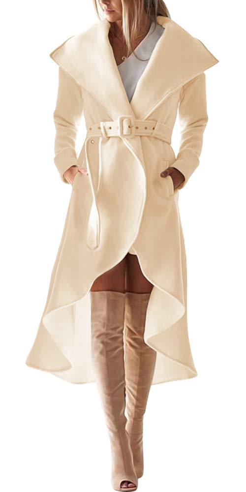 SAUKOLE Women's Winter Wool Trench Coat Wrap Large Collar High Low Party Jacket Outwear with Belt Beige by SAUKOLE