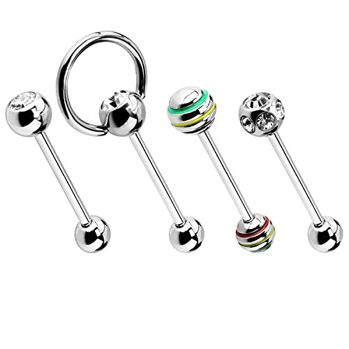 BodyJ4You 4PC Tongue Rings Nipple Barbells Surgical Steel Silvertone CZ Crystal Top 14G Piercing Jewelry
