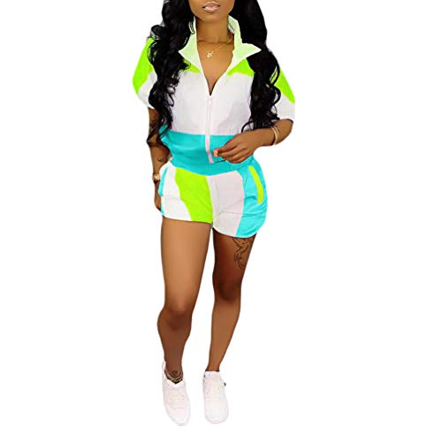 Womens Workout Outfits 2 Piece - Short Sleeve Color Block Zipper Windbreaker Jacket Shorts Tracksuit Set Plus Size Blue Large ()