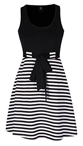 [Fanfly Womens's Bowknot Belt Stripes Skater Dress Trendy Sleeveless Striped Bodycon Mini Dress] (Black White Stripe Dress)