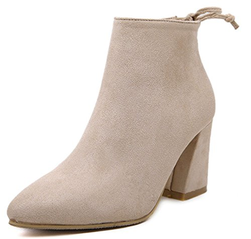 Heel Boots With Lovely Ankle Chunky Up apricot Easemax Bows Zip High Suede Faux Women's Toe Mid Pointed qvnwOpC1
