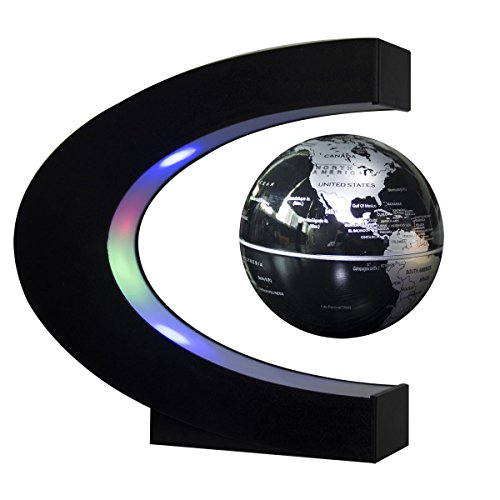 Motion Sculpture - Senders Floating Globe with LED Lights C Shape Magnetic Levitation Floating Globe World Map for Desk Decoration (Black-Silver)
