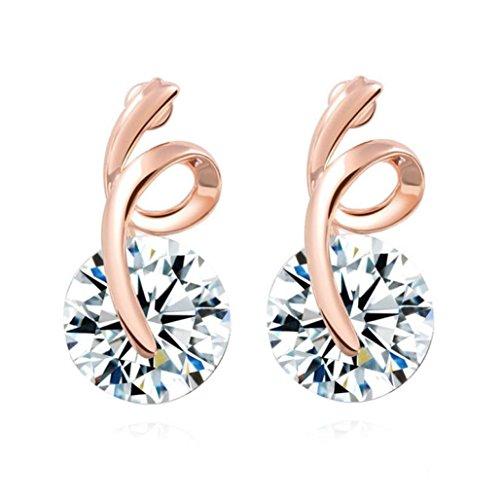 Ribbon Knot Ring (Catty Kelly 1 Pair Women Rhinestone Ribbon Earrings Ear Stud Bow-knot Jewelry)