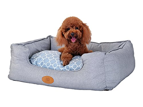 [NEW] PLS Birdsong Trellis Bolster Extra Small Dog Bed, Pet Bed, Cat Bed, Gray, Extra Small, Removable Cover, Completely Washable, dog beds for extra small dogs