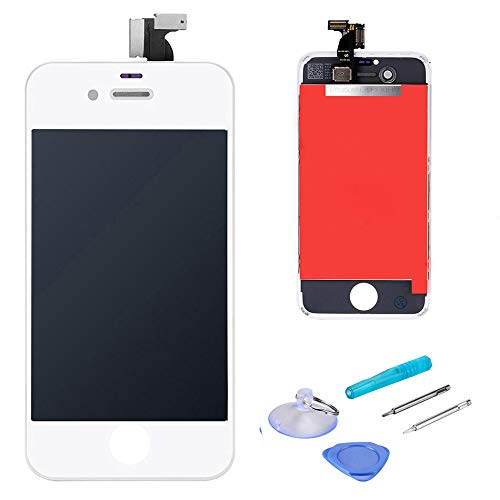 LCD Touch Screen Digitizer Display Replacement Assembly with Repair Tool for iPhone 4S-White (Iphone Replacement 4s Lcd Screen)