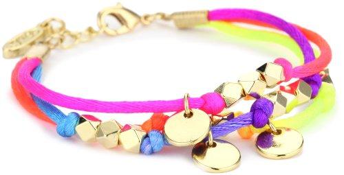 "UPC 812757017060, Ettika ""Satin Cord"" Gold Beaded Neon ""Satin Cord"" Bracelet Disc Charms"