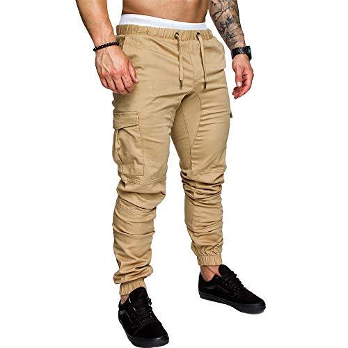 (LINGMIN Compatible with Calvin Klein Men's Athletics Pocket Chino Cargo Pant Elastic Waist Trousers Jogger Pants Khaki)