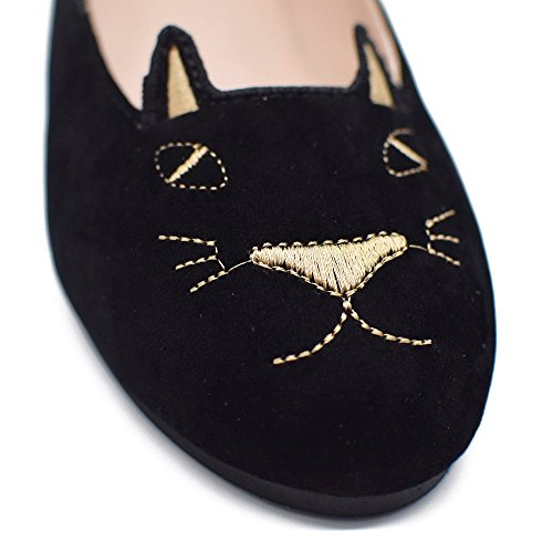 Classic Embroidery Cat Shoes Women Casual Slip On Ballet Flats Loafers Boat Shoe by Tengyufly (Image #1)