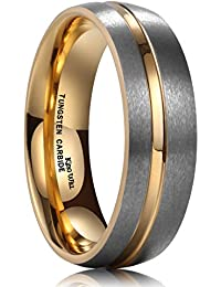 King Will LOOP 7mm Tungsten Carbide Ring 18K Gold Plated Thin Side Gold Groove Dome Wedding Band for Men