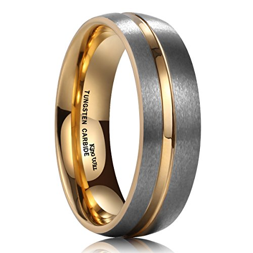 King Will DUO 7mm Tungsten Carbide Ring 18K Gold Plated Thin Side Gold Groove Dome Wedding Band for Men(9.5) (14 Wedding Band Mm)