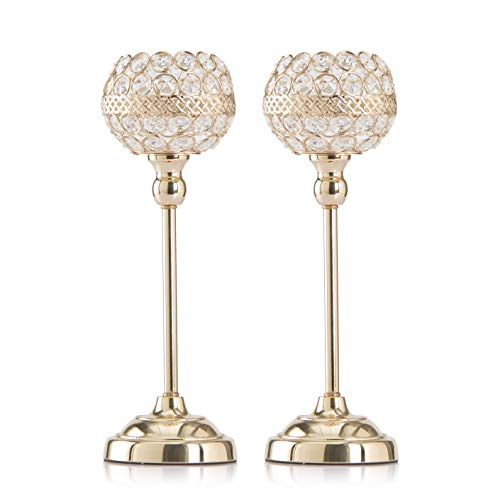(Skyera [Newest 2019] Gold Crystal Candle Holders, Dining Table Candlelight Home Decoration Gifts for Valentines Day/Wedding/Thanksgiving/Birthday/Housewarming (2 Pack) (13 inch))