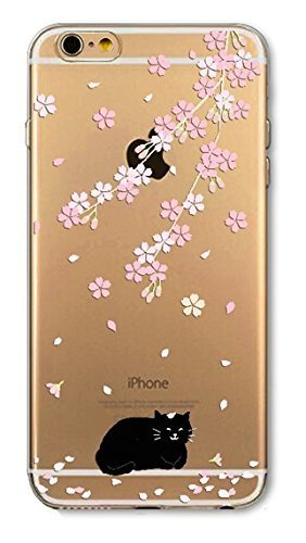 DECO FAIRY Compatible with iPhone 6 / 6s, Cartoon Anime Animated Cherry Blossom Black Cat Meow Kitty Series Transparent Translucent Flexible Silicone Cover ()
