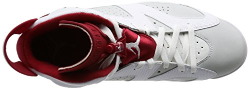Jordan Nike Herren Air 6 Retro Basketballschuh Weiß / Gym Red / Pure Platinum