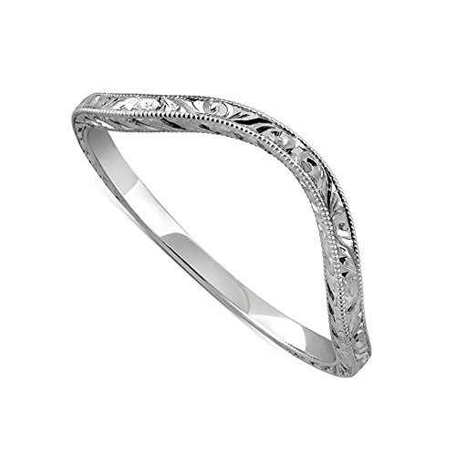Solid 14K White Gold Vintage Style Thin Delicate Deep Curved Crafted Engraved Milgrain Wedding Band 1.5mm Wide by PPLuxury