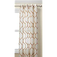 Madison Park Park Spice Living Room, Modern Contemporary Silver Grommet Bedroom, Brooklyn Embroidered Linen Window Curtains, 50X95, 1-Panel Pack