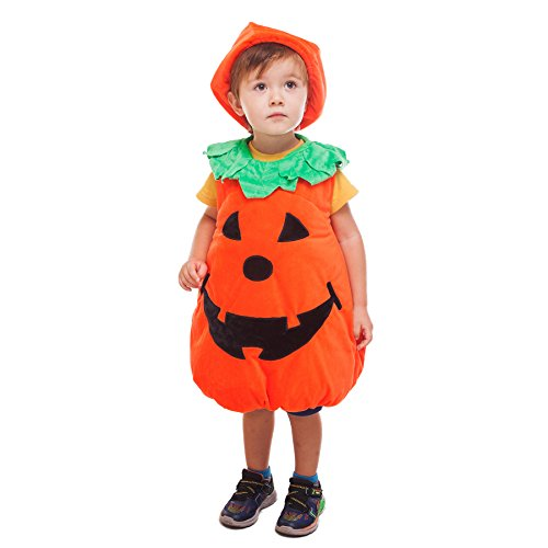 Pumpkin Costumes For Toddler (Wewill Halloween Orange Pumpkin Patch Cutie Unisex Costume Set for Party Children Clothing Fancy Dress Up 4-5year)