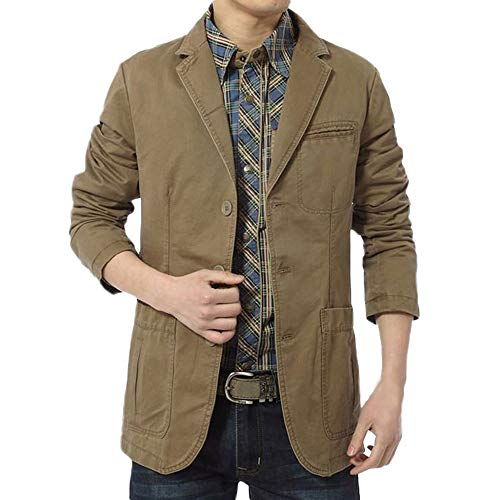 (Realdo Men's Cargo Jacket, Mens Workwear Casual Long Sleeve Solid Turn-Down Collar Suit)