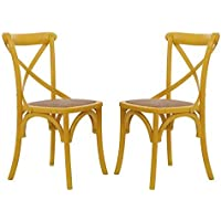 Adeco Elm Wood Vintage-Style Curved Leg Dining Chair Yellow Color (Set of Two)