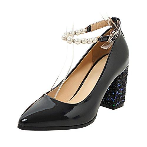 Sandales Femmes Perle Cheville à Bout Moyen Talons Noir UH Elegantes Bloc Pointu de Vernis Bride Brillant qRT55