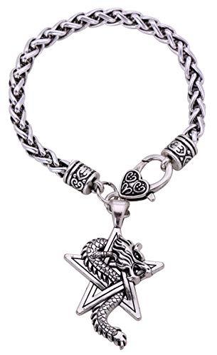 Viking Pentacle and Dragon Pendant Charm Wheat Chain Bracelet