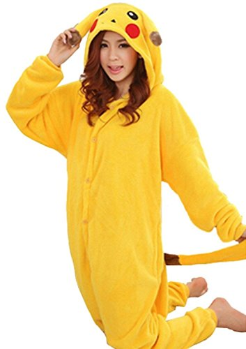 WOWcucos Unisex Adult Pikachu Onesies Animal Cosplay Costume Halloween Xmas Pajamas---L