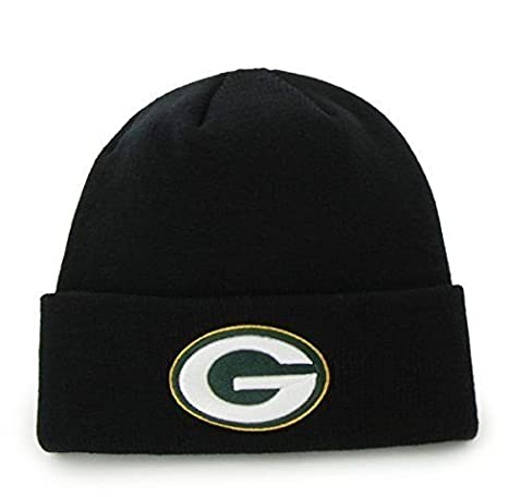 116930143 Image Unavailable. Image not available for. Color  47 Brand Green Bay  Packers Black Basic Raised Cuffed Sport Field Winter Stocking Beanie NFL