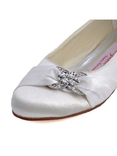 Wedding Bridal Comfort Elegantpark Satin Closed Pleated Rhinestones Flats Women Ivory Shoes Ax0SHwOq