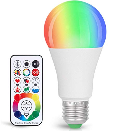 Sunnest 120 Colors LED Light Bulb, Dimmable E26 LED Light Bulb, 10W RGBW Color Changing Light Bulb with Remote Control, Decorative Lights, Mood Light Bulb, Great for Home Decor, Stage, Party and More (Bedroom Color Ideas Teal)