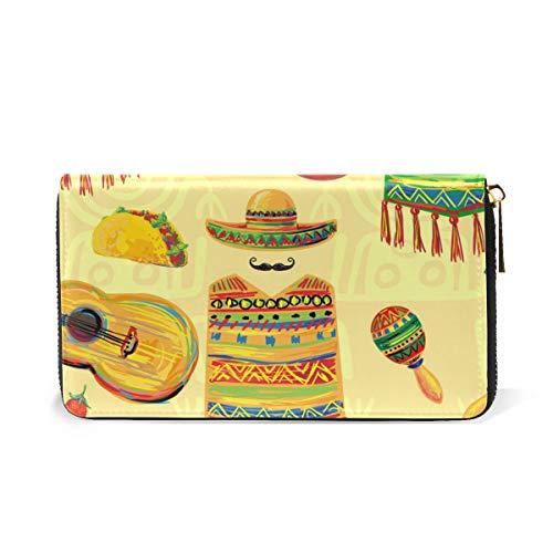 Womens Around TIZORAX And Zip Organizer Purses Music Clutch Mexican Wallet Handbags EHxHzBqR