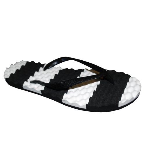 Frisky Shoes Big Girls Colorblock Stripe Flip Flop