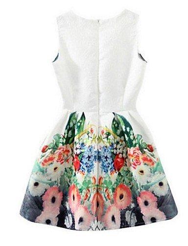 PU&PU Robe Aux femmes Gaine Street Chic,Fleur Col Arrondi Au dessus du genou Polyester , white-2xl , white-2xl