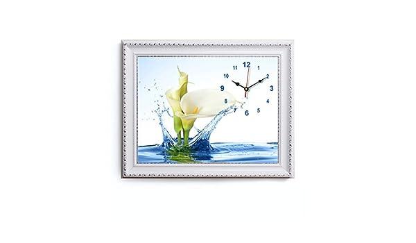 SFM MSF Relojes de Pared Fondo Decorativo Arte Creativo Pintura Reloj de Pared Reloj de Cristal Versión Horizontal del Triple Cuadros Colgantes para Sala de ...