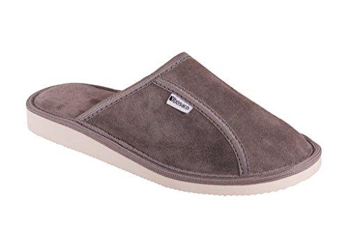 Pantofola In Pelle Scamosciata Genuina In Pelle Scamosciata Comfort Donna Bosaco Grigio