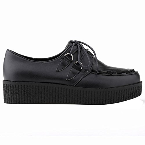 Loslandifen Mujeres Matt Leather Platform Lace Up Mujeres Flats Creepers Punk Zapatos Black