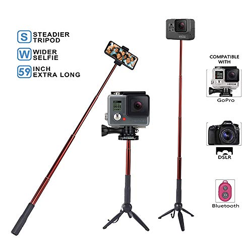 - Yanan Red Extendable Selfie Stick Tripod(37.4inch) with Tripod Base, Bluetooth, Phone Clip,Suitable for Cellphone and Digital Camera.