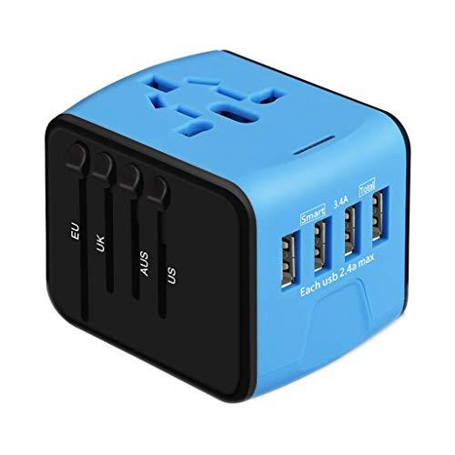 ❤️Jonerytime❤️Travel Adapter Universal International Power European Outlet Plug EU to US (Blue) ()