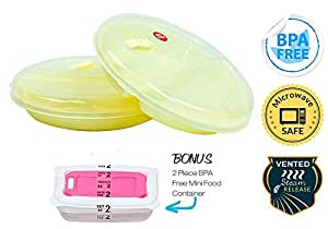 Microwave Divided Plates with Lids - No BPA - Set of 2 - Vented Lid, 2 Divided Compartments, Dishwasher Safe - Bonus: 2 No BPA Vented Mini Microwave Containers - Yellow